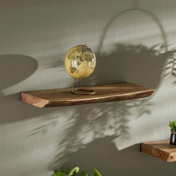 Wandplank 60 edge / Massief acacia naturel. 2472/15 uit de wandplanken collectie van Bullcraft kleinmeubelen & verlichting bij Löwik Meubelen