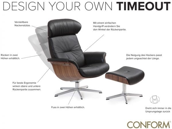 Fauteuil Time Out van Conform. Relaxfauteuil TimeOut scandinavisch design verkrijgbaar bij Löwik