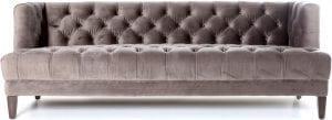 Vogue bank van Eleonora, uitgevoerd in zachte velvet / velours stof grijs