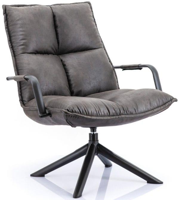 Mitchell fauteuil van Eleonora, trendy draaifauteuil in antraciete microvezelstof