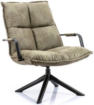 Mitchell fauteuil van Eleonora, trendy draaifauteuil in groene microvezelstof