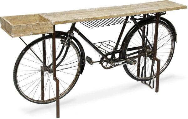 Bicycle sidetable - barmeubel iron + rwood black - bown Sidetable - barmeubel Bicycle van hout gecombineerd met ijzer 183x40x90(h) Feelings Lowik Meubelen