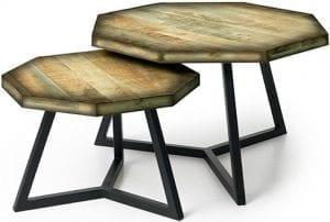 Octavio bijzettafel set van 2 mangohout - metaal green patina-zwart bijzettafel van mangohout, set van 2:75x75x42(h)+55x55x35(h) Feelings Lowik Meubelen