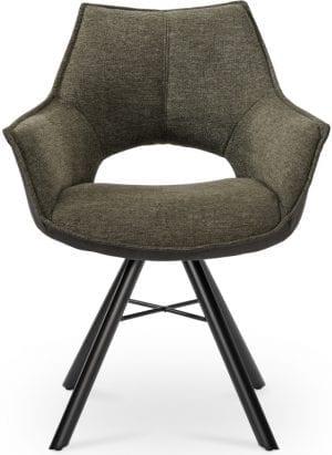 Mona eetkamerstoel groen, modern vormgegeven stoel met een schitterende afwerking. Uit onze Feelings eetkamerstoelen collectie. Uitgevoerd in stof Brego 77 green, met draaibare zitting. Afmeting: (bxdxh) 63x62x84 cm. Leverbaar in de kleuren: grijs, beige, groen en roze.
