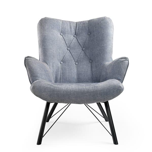 Lieke fauteuil 14 blauw  Fauteuil met zwart metalen onderstel. Bekleed met de stof denim. In meerdere kleuren leverbaar. Feelings Lowik Meubelen