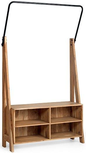 Bob garderobe Acacia - Metaal hela - black Garderobekast Bob van acaciahout en metaal 113x35x180(h) Feelings Lowik Meubelen