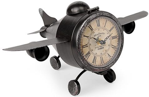 Vliegtuig klok Metaal antique brown  Feelings Lowik Meubelen