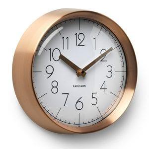 Wall clock convex wit/koper