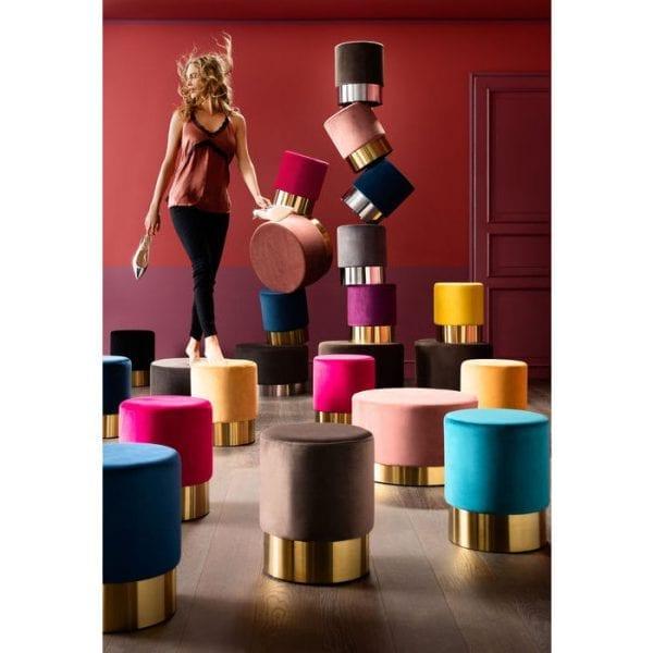 Kare Design Cherry Bluegreen Brass Ø35cm poef 83197 - Lowik Meubelen
