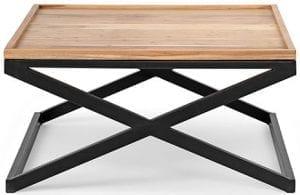 Lesley salontafel sheesham - metaal stone finish - black salontafel van sheeshamhout85x85x40(h) Feelings Lowik Meubelen