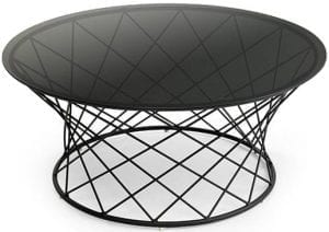 Noa bijzettafel glas-metaal  bijzettafel met een glazen blad op een zwart metalen onderstel Feelings Lowik Meubelen