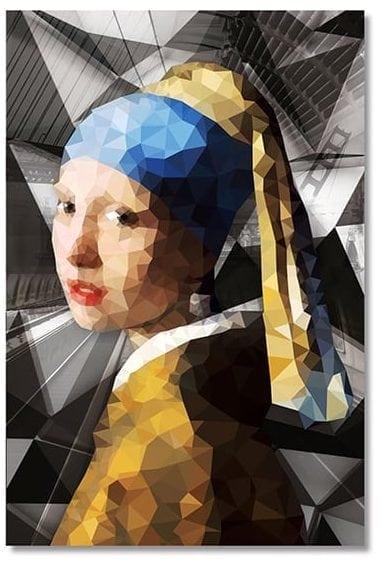 Wanddecoratie meisje met parel van glas 80x120 Wanddecoraties en spiegels Feelings Lowik Meubelen