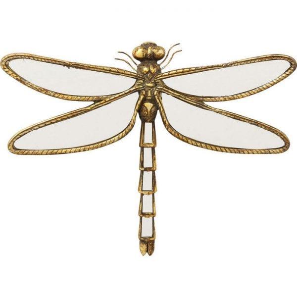 Wanddecoratie Dragonfly Mirror 51223 Voorkant: spiegelglas, lijst: polyresin, voor wandbevestiging horizontaal, met de hand vervaardigd Kare Design