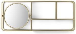 Libby wandplank met spiegel goud  Wandplank Libby met spiegel 85x12x35(h) Feelings Lowik Meubelen