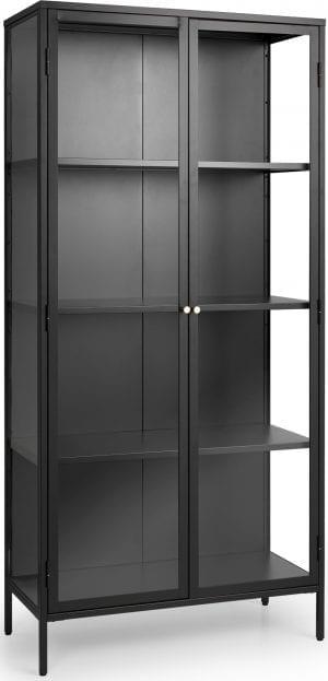 Carlos vitrinekast 2d metaal-glas zwart vitrinekast van metaal gecombineerd met glas90x40x191(h) Feelings Lowik Meubelen