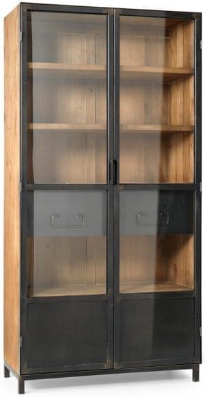 Hudson vitrinekast van Feelings, industrieel en stoer design in metaal i.c.m. hout