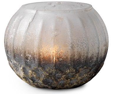 Dusty theelichthouder glass white matte silver Theelichthouder Dusty van glas 10x8(h) Feelings Lowik Meubelen