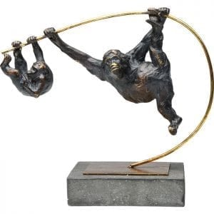 Deco Object Climbing Monkeys 63925 Decor: Staal gelakt, Object: Polyresin, Basis: Polyresin, Met de hand gemaakt Kare Design