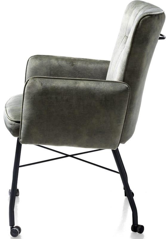 Olvi, armstoel met wielen + greep + pocket - stof Karese green OLVI ARMCHAIR Henders & Hazel Lowik Wonen & Slapen,
