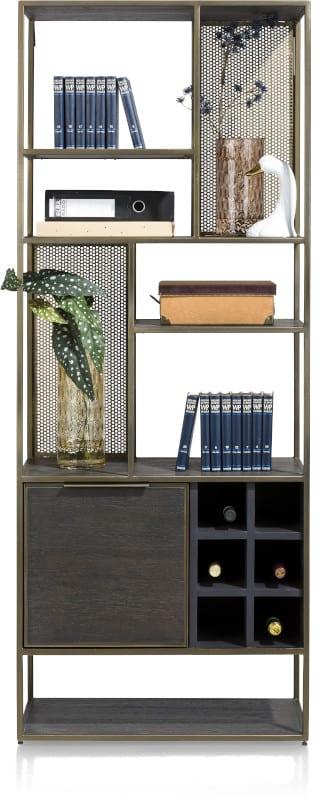 City, boekenkast 70 cm. - 1-deur + 6-niches + 6-wijnrekken CITY CABINET 40941RWB Henders & Hazel Lowik Wonen & Slapen