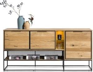 City, dressoir 190 cm. - 3-deuren + 3-niches (+ LED) CITY SIDEBOARD 40937RWB Henders & Hazel Lowik Wonen & Slapen