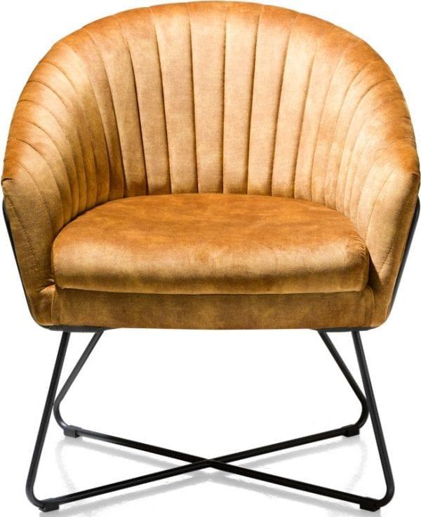 Cayenne, fauteuil oker met metalen frame recht CAYENNE ARMCHAIR 42996OKE Henders & Hazel Lowik Wonen & Slapen