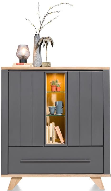 Jardin, highboard 2-deuren + 1-lade (+ 2 binnenin) + 3-niches-125 cm(+ LED) JARDIN CABINET 39900WIT Henders & Hazel Lowik Wonen & Slapen