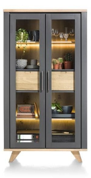 Jardin, vitrine 2-glasdeuren + 2-laden (binnenin) - 110 cm (+ LED) JARDIN CABINET 39904WIT Henders & Hazel Lowik Wonen & Slapen