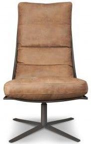 Fauteuil Brutus, moderne draaifauteuil met een industrieel onderstel - uit de fauteuil collectie van Het Anker