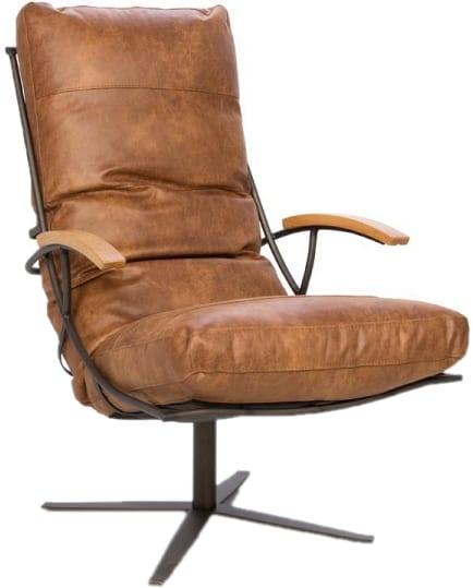 Tiberius fauteuil leder Colorado L60 cognac - Het Anker