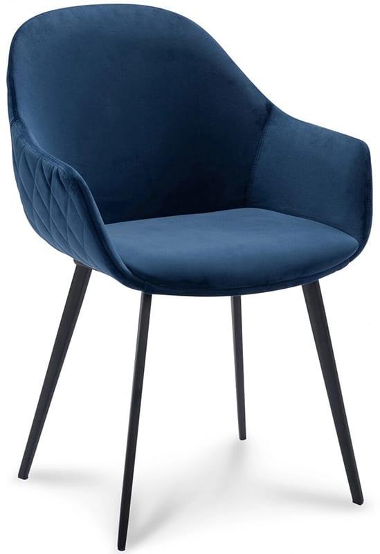 Stoel Canti, retro scandinavisch design uit de IN.House eetstoelen collectie. De Canti armstoel uiutgevoerd in stof Velvet blauw.