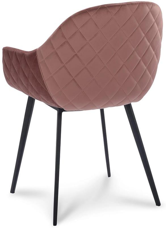 Stoel Canti, retro scandinavisch design uit de IN.House eetstoelen collectie. De Canti armstoel uiutgevoerd in stof Velvet roze.