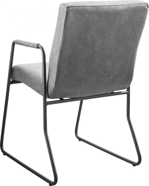 Armstoel Serini in microleder bull/bora 65-grey met 3-baans verticaal stiksel en een metalen draadframe in kleur nr.3 gun metal - IN-House stoelen collectie