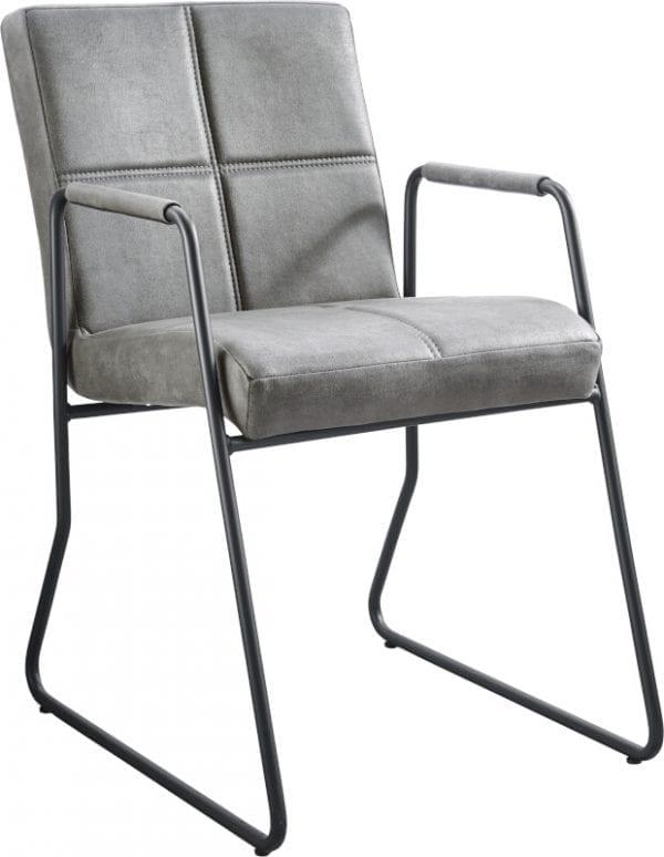 Armstoel Serini in microleder bull/bora 65-grey met quadrant stiksel en een metalen draadframe in kleur nr.3 gun metal - IN-House stoelen collectie