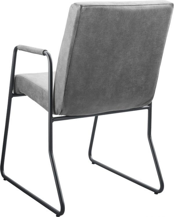Armstoel Serini in microleder bull/bora 65-grey met trekstrook stiksel en een metalen draadframe in kleur nr.3 gun metal - IN-House stoelen collectie
