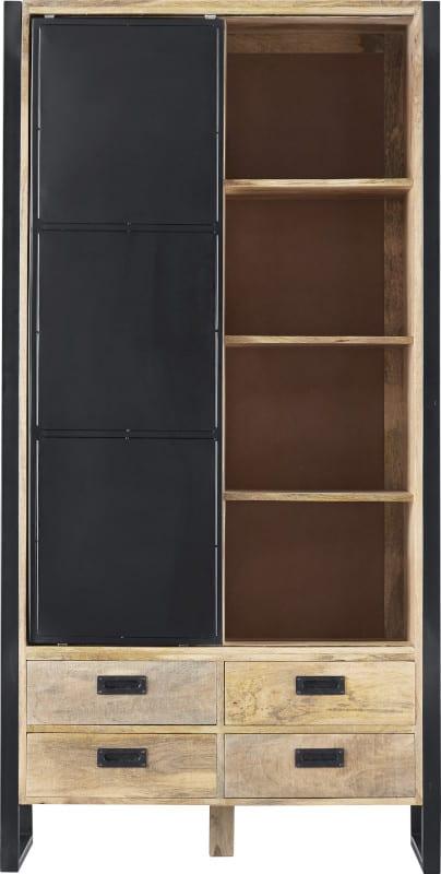 Karaktervolle bergkast Slider in stoer en stijlvol mangohout. Uitgevoerd met 1 schuifdeur, 2 laden en 4 open vakken.