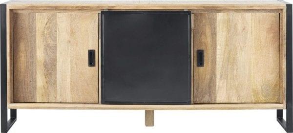 Karaktervol dressoir Slider in stoer en stijlvol mangohout. Uitgevoerd met 1 deur, 1 schuifdeur, 2 open vakken en 1 lade.