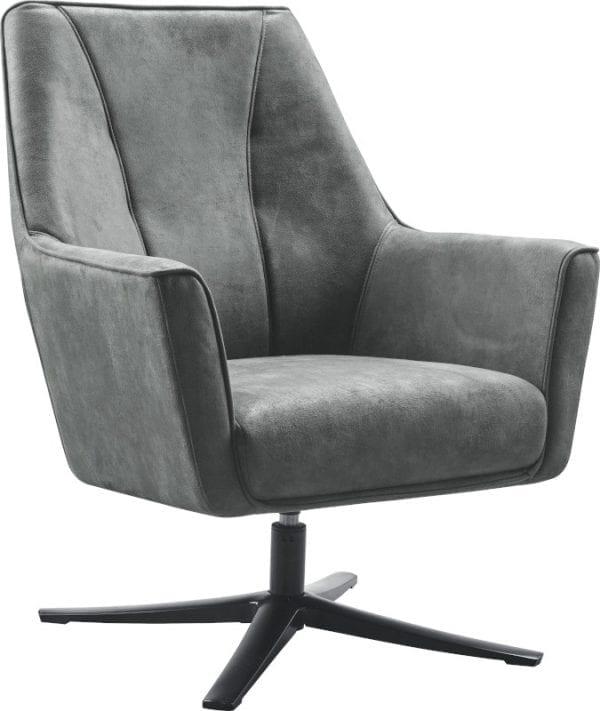 Fauteuil Turner uit de collectie van IN.House. Uitgevoerd als draaifauteuil in microleder Bora 66-graphite met een zwart metalen draaipoot. Afmeting: (hxbxd) 090x075x077 cm