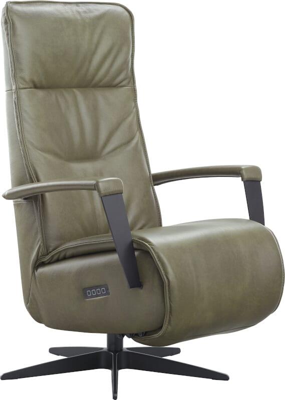 Relaxfauteuil Dalero, uit de fauteuil collectie van IN.House. Relaxfauteuil uitgevoerd in afmeting Small in leder Rebound Bottle green 23054, electrisch verstelbaar met 2 motoren, rug met 2 horizontale banen (Hercules), voorzien van zwart aluminium stervoet (type 32). Optioneel met accu. Afmeting: (hxbxd) 108x067x078 cm