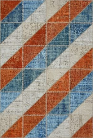 Vloerkleed Patch Collection - 16-003 Clivus - Handgeknoopt Patchwork-tapijt. Samenstelling: 50% wol + 50% katoen. Rug (gelijmd en genaaid): 100% katoen. Indien niet in voorraad is de levertijd circa 5 weken. Maatwerk mogelijk.