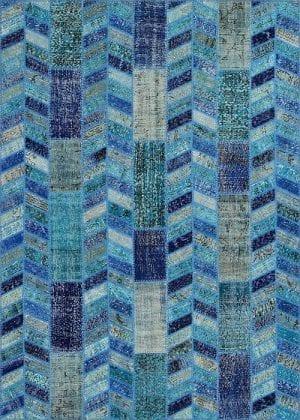 Vloerkleed Patch Collection - 18-001 Rivus - Handgeknoopt Patchwork-tapijt. Samenstelling: 50% wol + 50% katoen. Rug (gelijmd en genaaid): 100% katoen. Indien niet in voorraad is de levertijd circa 5 weken.