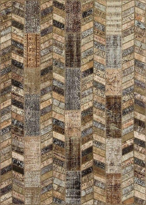 Vloerkleed Patch Collection - 18-002 Rivus - Handgeknoopt Patchwork-tapijt. Samenstelling: 50% wol + 50% katoen. Rug (gelijmd en genaaid): 100% katoen. Indien niet in voorraad is de levertijd circa 5 weken.