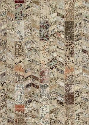 Vloerkleed Patch Collection - 18-010 Rivus - Handgeknoopt Patchwork-tapijt. Samenstelling: 50% wol + 50% katoen. Rug (gelijmd en genaaid): 100% katoen. Indien niet in voorraad is de levertijd circa 5 weken.