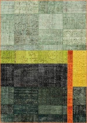 Vloerkleed Patch Collection - 19-001 Inspirations - Handgeknoopt Patchwork-tapijt. Samenstelling: 50% wol + 50% katoen. Rug (gelijmd en genaaid): 100% katoen. Indien niet in voorraad is de levertijd circa 5 weken. Maatwerk mogelijk.