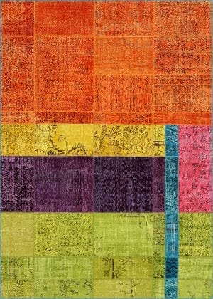 Vloerkleed Patch Collection - 19-002 Inspirations - Handgeknoopt Patchwork-tapijt. Samenstelling: 50% wol + 50% katoen. Rug (gelijmd en genaaid): 100% katoen. Indien niet in voorraad is de levertijd circa 5 weken. Maatwerk mogelijk.