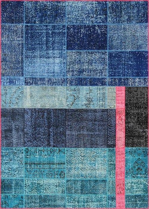 Vloerkleed Patch Collection - 19-003 Inspirations - Handgeknoopt Patchwork-tapijt. Samenstelling: 50% wol + 50% katoen. Rug (gelijmd en genaaid): 100% katoen. Indien niet in voorraad is de levertijd circa 5 weken. Maatwerk mogelijk.