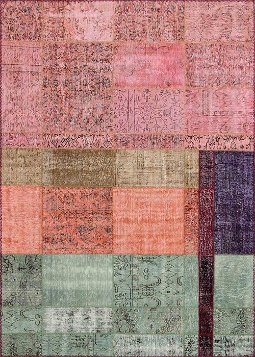 Vloerkleed Patch Collection - 19-004 Inspirations - Handgeknoopt Patchwork-tapijt. Samenstelling: 50% wol + 50% katoen. Rug (gelijmd en genaaid): 100% katoen. Indien niet in voorraad is de levertijd circa 5 weken. Maatwerk mogelijk.