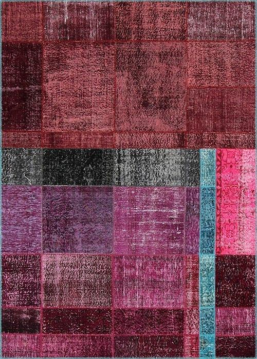 Vloerkleed Patch Collection - 19-005 Inspirations - Handgeknoopt Patchwork-tapijt. Samenstelling: 50% wol + 50% katoen. Rug (gelijmd en genaaid): 100% katoen. Indien niet in voorraad is de levertijd circa 5 weken. Maatwerk mogelijk.
