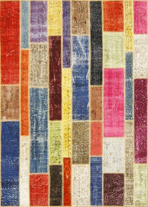Vloerkleed Patch Collection - 2 - 001 Nieuw - Handgeknoopt Patchwork-tapijt. Samenstelling: 50% wol + 50% katoen. Rug (gelijmd en genaaid): 100% katoen. Indien niet in voorraad is de levertijd circa 5 weken. Maatwerk mogelijk.
