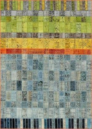 Vloerkleed Patch Collection - 21-001 Concept - Handgeknoopt Patchwork-tapijt. Samenstelling: 50% wol + 50% katoen. Rug (gelijmd en genaaid): 100% katoen. Indien niet in voorraad is de levertijd circa 5 weken. Maatwerk mogelijk.